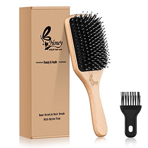 B.y Honey Hair Brush-[Upgraded] Natural Boar Bristle Hairbrush for Women Men Long Thick Fine Curly Wavy Dry Wet All Hair Types,10 Ounce Best Paddle Brush for Reducing Hair Breakage,Adding Shine-1 Count