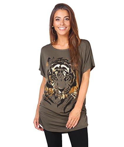 KRISP Oversize Shiny Tiger Print T-shirt (Khaki, 4),[2093-KHA-08]