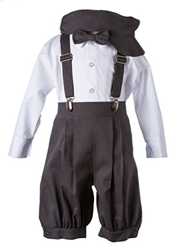 Dark Grey Linen Vintage Knicker Outfit for Boys -