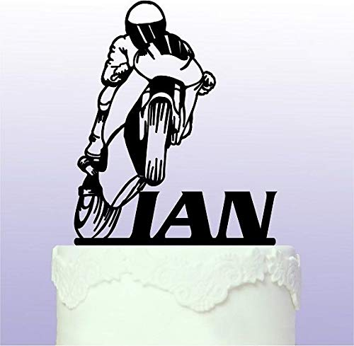 (Personalised Wheelie Sports Bike Cake Topper Racing Motorbike)