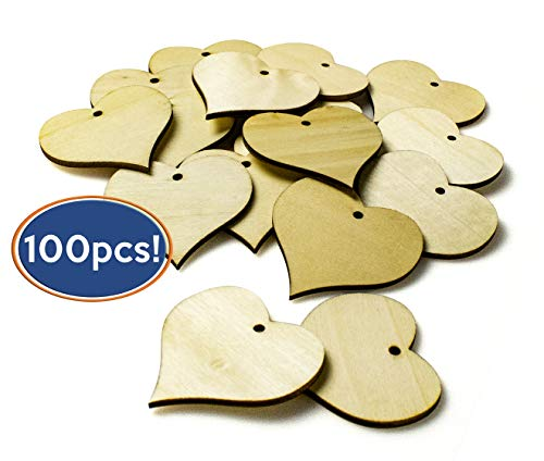 Bastex Wood Heart Shape Slices 100 Pieces. Blank Wooden Tags with Holes. Great for DIY Wedding Décor, Wood Burning, Making Ornaments. 47mm Heart Shaped Craft Wood Name Tags.