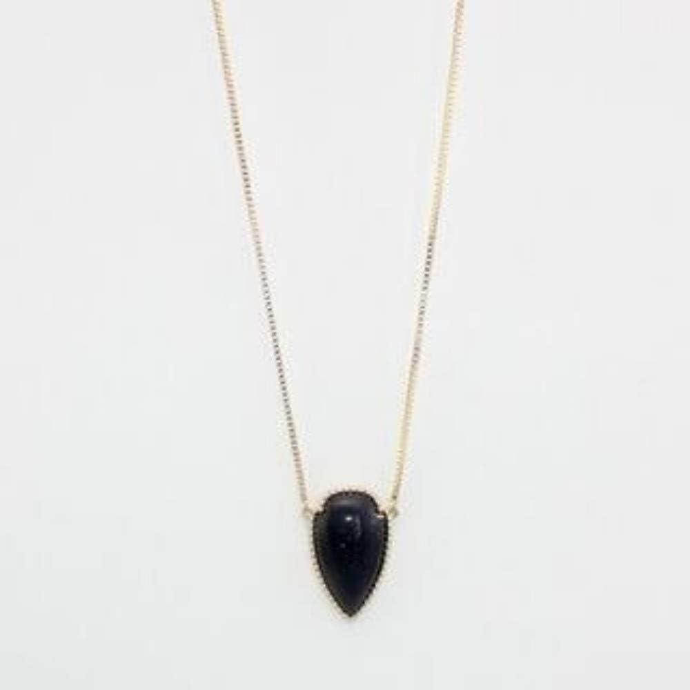 Collar,Piedra Negra Colgante Collar De Flecha De Piedra Sección Largo Collar Sencillo Boda Accesorios Joyas