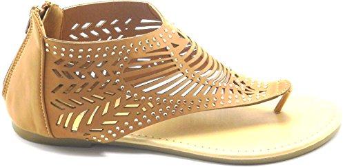 Vrouwen T Riem Strass Feestkleding Gladiator Romeinse Platte Sandalen Schoenen Kameel