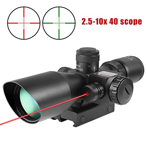 Tworld Riflescopes 2.5-10x40 Rifle Scope Gun Sight Red Laser Dual Illuminated Mil-dot with Rail Mount