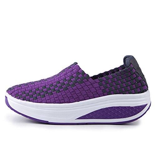 Femmes Décontractée Baskets Tissage Chaussures Bateau Pour Dames Sport Pourpre