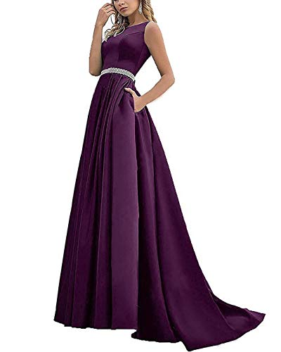 Formal Evening Dresses for Women Long Satin Prom Ball Gowns A Line Wedding Dress (Grape-10)