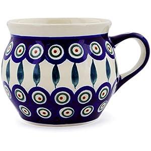 Polish Pottery Boleslawiec Mug, Large, Round, 0.42L in LEAF pattern