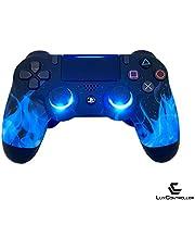 LuxController PS4 Controller 2 Paddles X-O, LED Blau Flammen Design Playstation4 Dualshock4 -JDM055