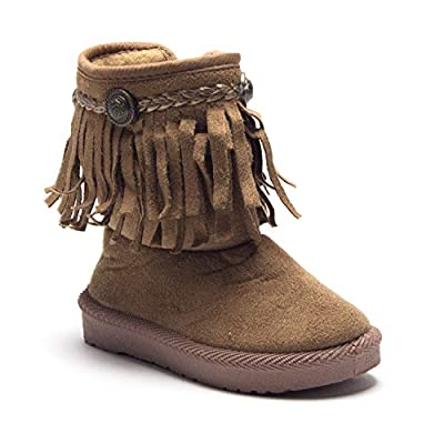 Jazamé Little Toddler Girls Suede Moccasin Fringe Ankle Bootie Fashion Boots