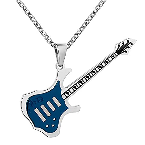 Mel Crouch Love Music Rock Punk Necklaces Musical Electric Guitar Bass Pendant Necklace(free 19+2 inches) - Electric Guitar Necklace Jewelry