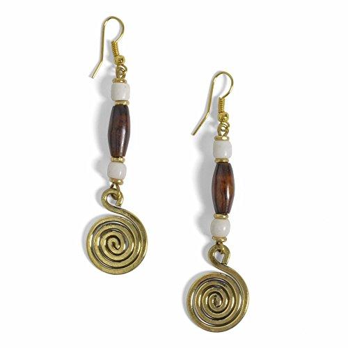 Kenyan Caramel Mocha Swirl Brass Earrings ()
