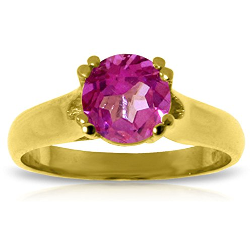 ALARRI 1.1 Carat 14K Solid Gold Love Doesn't Outgrow Pink Topaz Ring With Ring Size 9.5 by ALARRI (Image #1)'
