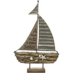 "Hosley 13.2"" High, Decorative Tabletop Driftwood Sailboat. Ideal Gift for Wedding, Home, Party Favor, Spa, Reiki, Meditation, Bathroom Settings O9"
