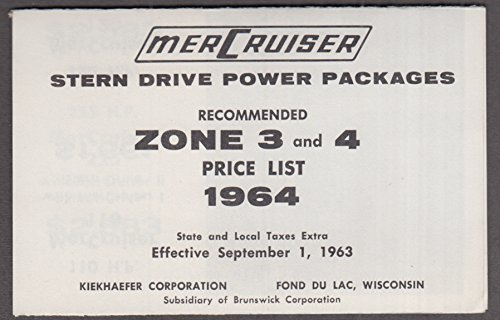 (MerCruiser Stern Drive Boat Power Packages price list 1964)