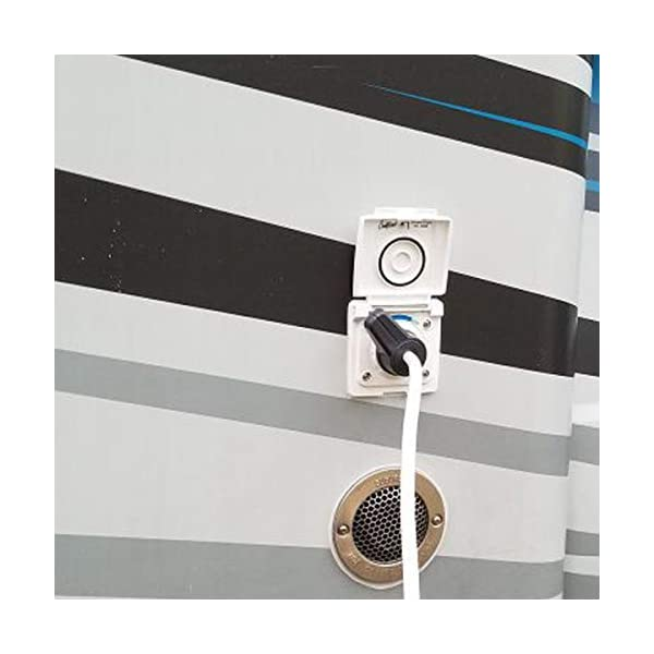 4103bATsyUL Wasser Außensteckdose Außendusche Versorgungsklappe Wohnmobil Wohnwagen Dusche Mischbatterie weiß