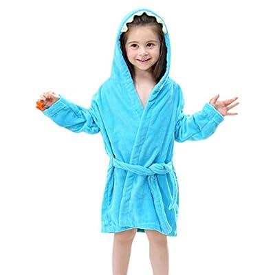 iOPQO Pajama for Kids, Baby Bathrobe Cartoon Dinosaur Hooded Bath Towel Pajamas