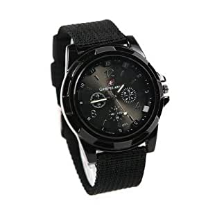 Cool Summer,black Color Military Army Pilot Fabric Strap Sports Men's Swiss Military Watch