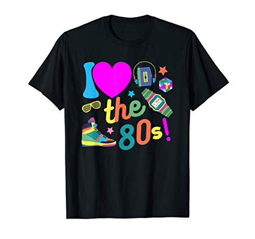 I love The 80s TShirt Funny 80's Party Costume Men Women Tee ()