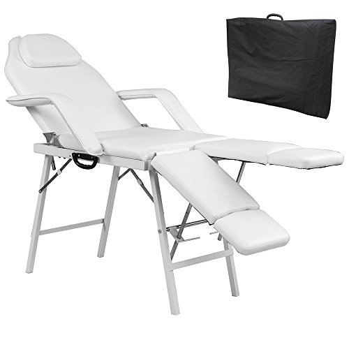 75″L Portable Adjustable Massage Table Chair Couch for Salon Beauty Physiotherapy Facial SPA Tattoo Household(White)