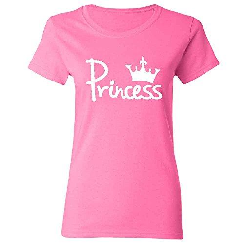 Princess Crown Women's T-shirt Couple Matching Ladies Tee Pink X-Large (Princess Pink T-shirt Womens)