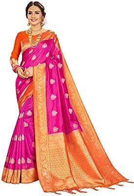 29739 Indian Saree /& Blouse Sari Bollywood Rakhi Pink Woven Banarasi Art Silk