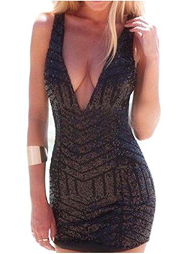 Les Femmes Sans Manches Sexy Cou V Profond Dos Nu Mini Robe Moulante À Sequins Noirs Clubwear