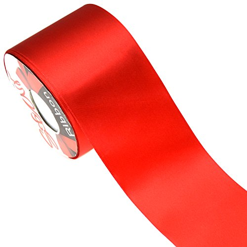 Star Quality 3 Inch Wide Satin Ribbon by 25 Yard Spool| Polyester Ribbon for Floral Arrangement, Wedding Bouquet, and Big DIY Artwork Projects | No Fading Woven Ribbon (3 Inch Width,Christmas Red) ()