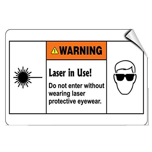 Laser In Use! Wear Laser Protective Eyewear Keep Safe LABEL DECAL STICKER Sticks to Any - City Rain Eyewear