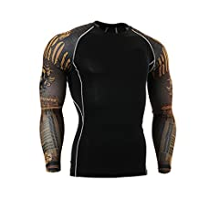 YBL Men's Dry Skin Fit Long Sleeve Compression Printed Shirt