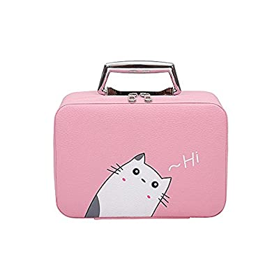 af92a600af33 PU Leather Travel Cosmetic Case Mirror Makeup Box Storage Bags Cases ...