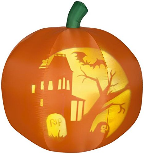 Gemmy 5' Airblown Panoramic Projection Pumpkin Halloween -