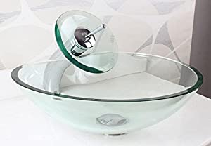 BL- Modern tempered clear glass wash basin simple hearts above counter basin , basin + faucet and accessories delicate