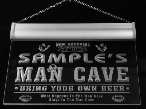 qa1078-g Wood's Man Cave Football Game Room Bar Neon Beer Sign by AdvPro Name (Image #2)