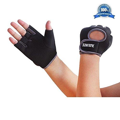 [Wonzone Anti-skid Half Finger Gloves unisex Cycling Bike Bicycle Gel Gloves Half Finger Ultra-breathable Outdoor Sports Shockproof half finger Glove for Women Men Kids Girls Boys Teens (Grey] (Roller Skating Costumes)