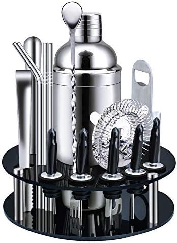 X-cosrack Bar-Set, 18-teilig, Edelstahl, Cocktail-Shaker, Bar-Werkzeuge, mit drehbarem Ständer und Rezept-Broschette, Premium Bartending-Set für Zuhause, Bars, Reisen und Partys im Freien