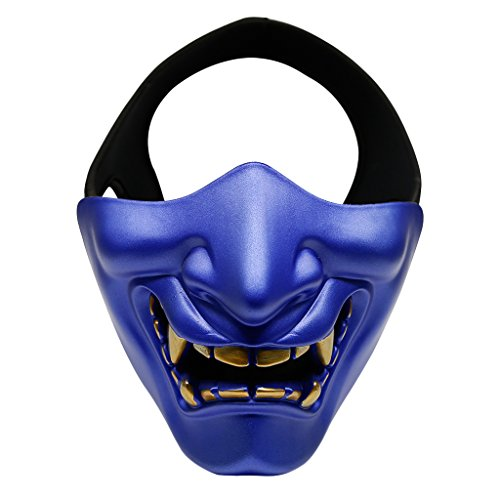 MagiDeal Skull Terror Half Face Mask Cover Paintball Sports Protection Halloween/Cosplay Party Mask Detachable & Adjustable - blue