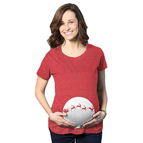 (Maternity Moon Santa Sleigh Over The Moonlight Funny Pregnancy T Shirt (Red) - 3XL)
