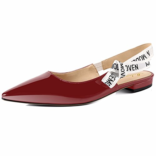 Modemoven Women's Wine Red Patent Leather Sling-back Ballet Pumps,Flat Shoes for Women,Slip On Loafers,Sexy Mules - 11 M US Ladies Ballet Pumps