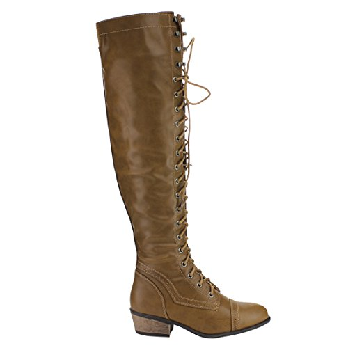 Beston DE11 Damen Schnürschuh Block Heel Side Zip Overknee High Combat Boots Taupe