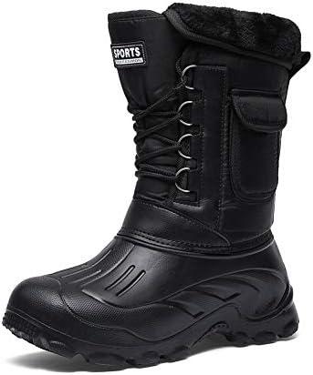 冬の男性の雪のブーツに加え、ベルベット媒体カーフレースアップ快適な防雨ノンスリップ釣り迷彩の靴は、耐摩耗性 (色 : 黒, サイズ : 28 CM)