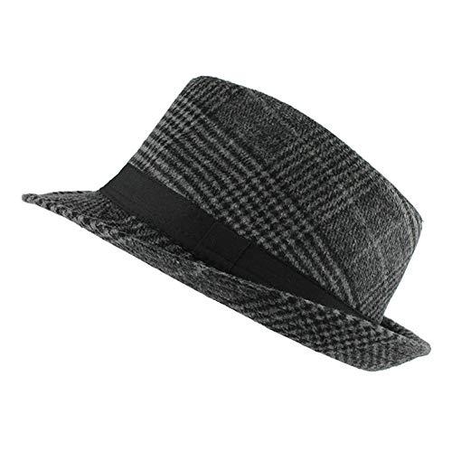 Unisex Short Brim Wool Fedora Hat Plaid Trilby Hat Classic Jazz Cap Black