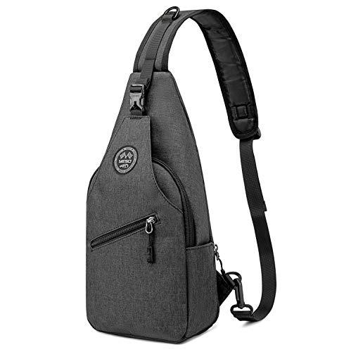 YESO Schulter Brusttasche Sport Schultertaschen Sling Rucksack Radfahren Täglich (Dunkelgrau (Versenkbare Seitentasche))