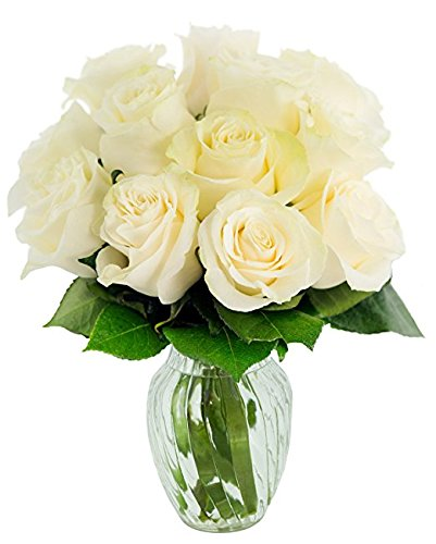Rose Sympathy Gift Basket - KaBloom Bouquet of 12 Fresh Cut White Roses (Farm-Fresh, Long-Stem) with Vase