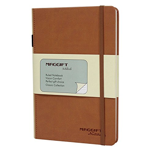 Maggift Hardcover Notebook, 192 Pages Thick Classic Notebook with Pen Loop - Ruled Hardcover, Fine PU Leather, 8.5 x 5.7 Inch, Khaki
