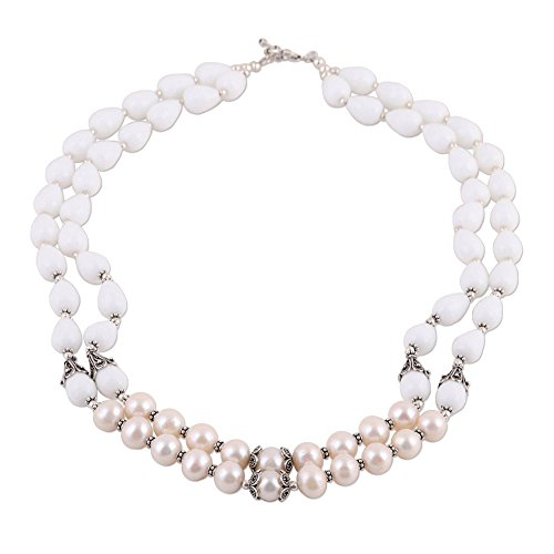 - NOVICA Agate Cream Cultured Freshwater Pearl .925 Silver Beaded Necklace, 23.5