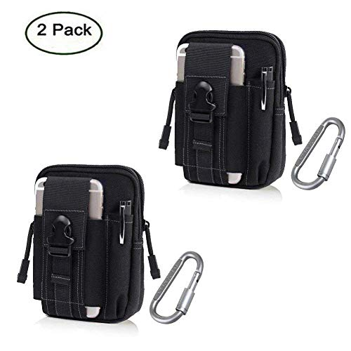 ZJtech Tactical Molle Pouch Compact EDC Utility Gadget Waist Bag Pack with Cell Phone Holster for iPhone 6 Plus (2 Pack - Black) -