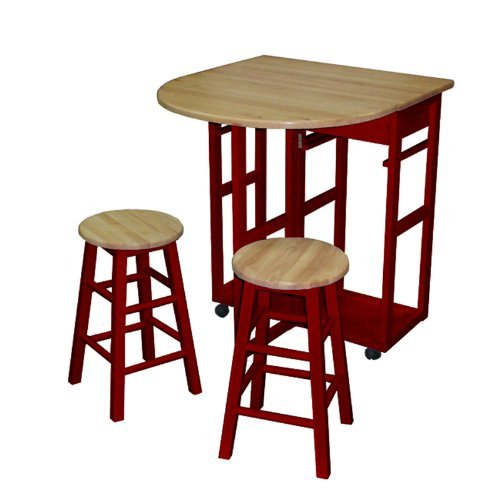 Casual Home Drop Leaf Breakfast Cart with 2 Stools-Red (Stool Breakfast)