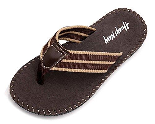 Minetom Hombres Moda Zapatillas Chanclas Verano Playa Zapatos Clip Toe Sandalias Marrón