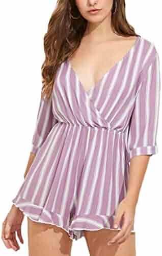 c151e62d54 omniscient Women Casual Stripe Wrap V Neck Short Sleeve Romper Playsuit