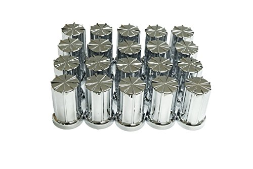 Diesel Laptops 20 Pack of 33mm x 3-3/8 Chrome 8 Spoke Screw On Nut Cover for Commercial Heavy Semi Trucks with 12-month Membership to TruckFaultCodes